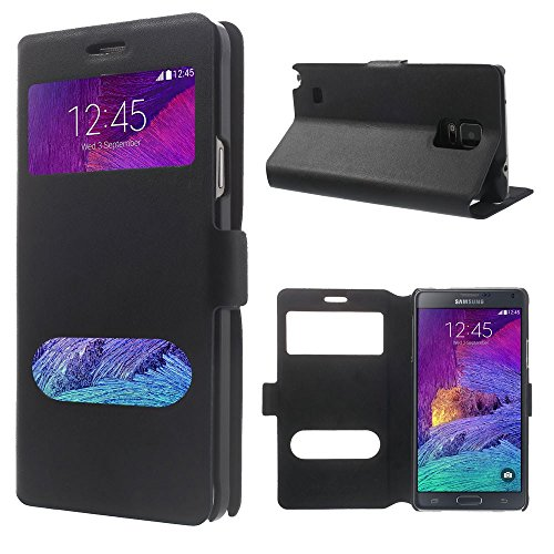 Smays Genuine Leather Card Holder Case Dual Windows with Stand for Samsung Galaxy Note 4 N910 (Black)