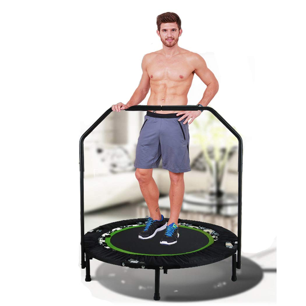 shaofu 40'' Rebounder Trampolines Foldable Exercise Trampoline with Adjustable Handrail for Adults Kids, 300 lbs (US Stock) (Green - Unadjustable Legs) by shaofu