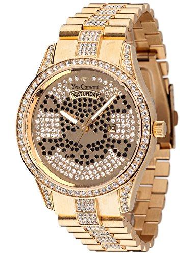 Yves Camani Yael Skull Ladies Watch Gold Plated Stones Day & Date Zirconia Crystals YC1078-B