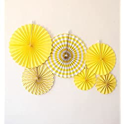 LG-Free 8pcs/12pcs Mixed Colors & Sizes Tissue Paper Fan Round Folding Fans Wall Hanging Fan Fiesta Wedding Birthday Kids Supplies for Christmas Tree Home Decorations, Party, Wedding (Yellow)