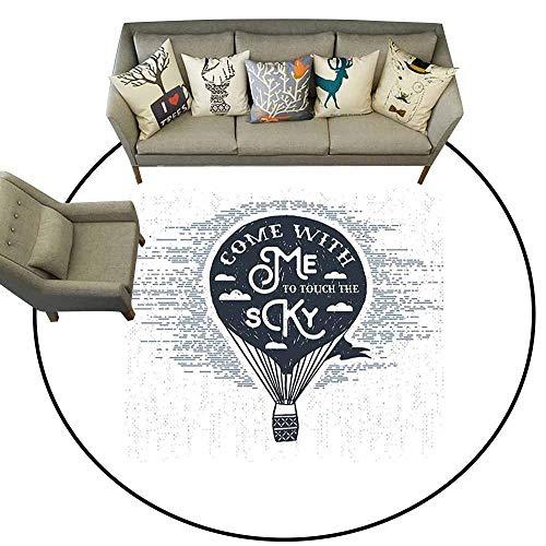 Non-Slip Round Rugs,Love,Retro Hot Air Balloon with Romantic Valentines Journey Phrase Pencil Drawing,Dark Blue White,Floor Rug Shoe Scraper Door Mat Rug 5.2