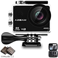 AZEAM 4K Action Camera 16MP FHD Wi-Fi Action Cam 2.0 Inch LCD Display, Waterproof Case, 170°Ultra Wide-Angle Lens - 2 Rechargeable 1050mAh Batteries & Portable Package Include 20 Accessories Kits