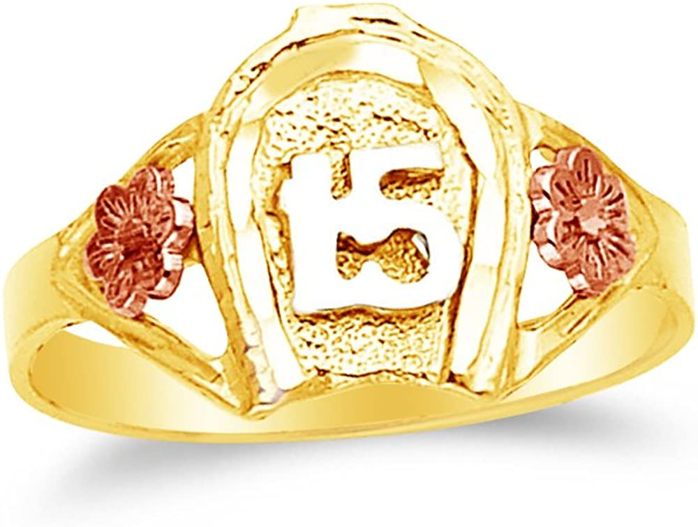 Jewel Tie Solid 14k Rose Yellow /& White Gold 15 Years Birthday Horse Shoe Ring Size 7.5