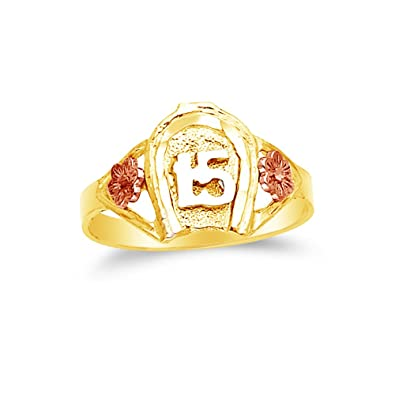8683ecf56b88 14 K Rosa Amarillo y Oro Blanco 15 años cumpleaños caballo zapato anillo   Amazon.es  Joyería