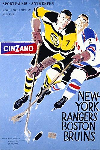 rk Rangers - Boston Bruins - (Artist: Penet c. 1959) - Vintage Advertisement (12x18 Signed Print Master Art Print w/Certificate of Authenticity - Wall Decor Travel Poster) ()