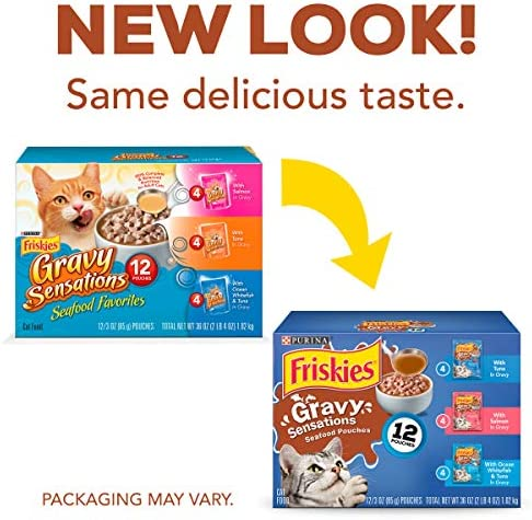Purina Friskies Gravy Wet Cat Food Variety Pack, Gravy Sensations Seafood Pouches – 12 3 oz. Pouches