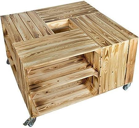 1 X Flammé Table de Chevet avec Planche Milieu Cageot à Fruits Boîtes en Bois