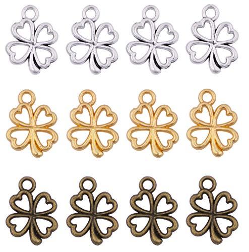 (180pcs Mix Color Alloy Antique Silver Antique Bronze Gold Four Leaf Clover Pendant Charms DIY Necklace Bracelet Jewelry Making)