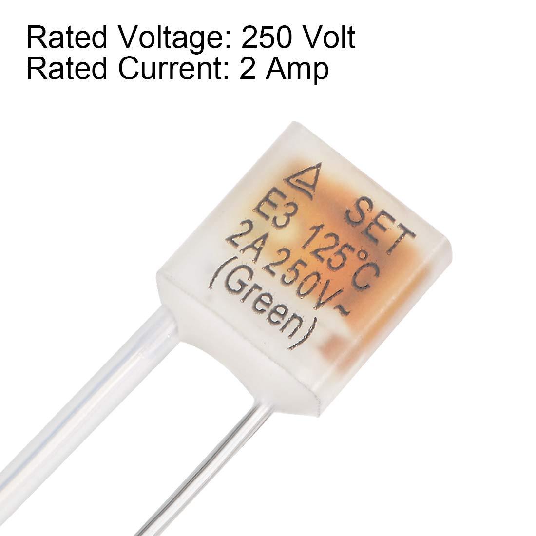 1A 130C 20pcs Sourcing Map Fusible thermique 250 V Contr/ôle de la temp/érature Double fils Coupure de circuit /électrique
