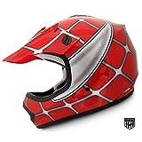 HHH DOT Youth & Kids Helmet for Dirtbike ATV Motocross MX Offroad Motorcyle Street bike Red Net (Large)