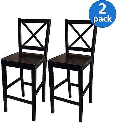 Sensational Virginia Cross Back Counter Stools 24 Set Of 2 Black Spiritservingveterans Wood Chair Design Ideas Spiritservingveteransorg