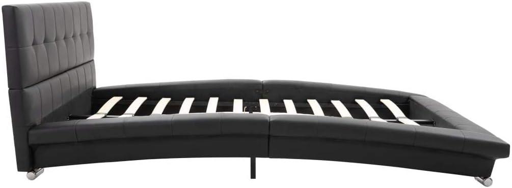 vidaXL Estructura de Cama de Cuero Artificial Colch/ón Hogar Canap/é Habitaci/ón Dormitorio Casa Mobiliario Mueble Somier Bricolaje 200x120 cm Negro