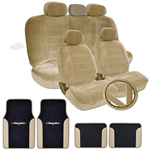 New Yupbizauto Velour Car Truck SUV Seat Covers with Vinyl Trim Floor Mats Set Airbag Compatible (Tan)