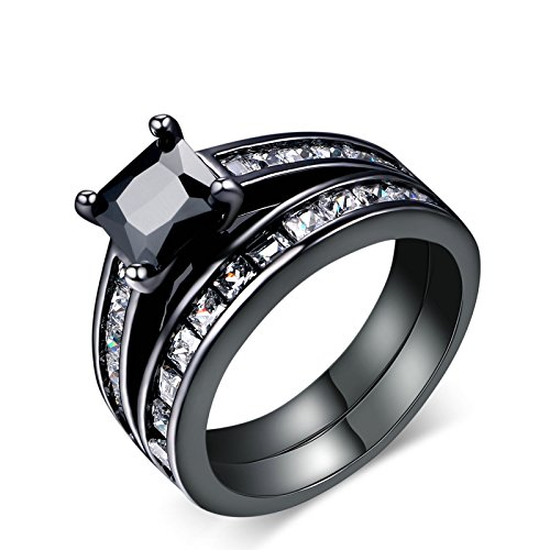 Herinos Engagement Rings Black Gold Square Cubic Zirconia Promise Rings Wedding Band Women Size -