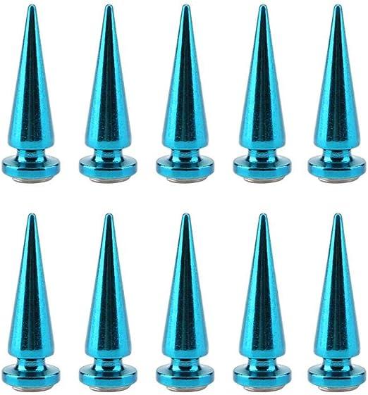 10 Pcs 10mm Metal Spike Rivets Blue Cone Spikes Metallic Studs Screw Back DIY Leather Crafts Decoration for Belt Shoes Handbag