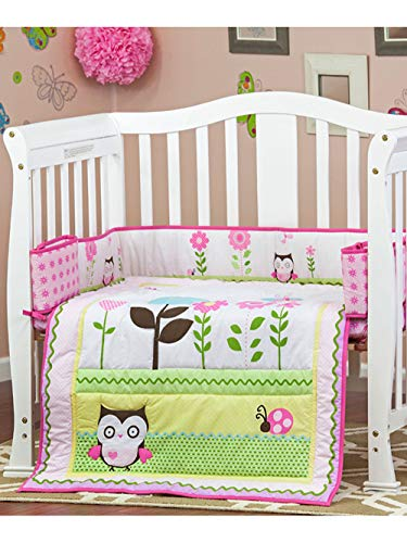Dream On Me 3 Piece Reversible Portable Crib Bedding Set, Baby Owl