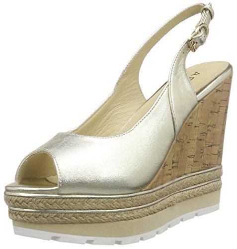Apepazza Faye Metal - sandalias de talón abierto con cuña Mujer Dorado - Gold (GOLD)