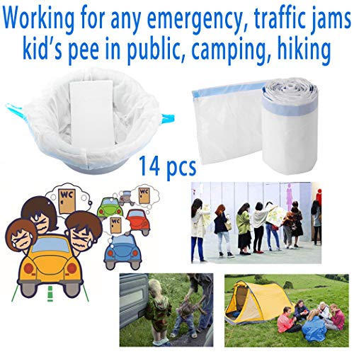 (Commode Liners with Super Absorbent Gel Pads (14 Count) Disposable Toilet Bags for Camping Toilet Emergency Traffic Jam Car Travel Urinal Bags by Carer)