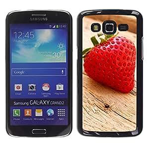 Paccase / SLIM PC / Aliminium Casa Carcasa Funda Case Cover - Fruit Macro Wood Strawberry - Samsung Galaxy Grand 2 SM-G7102 SM-G7105