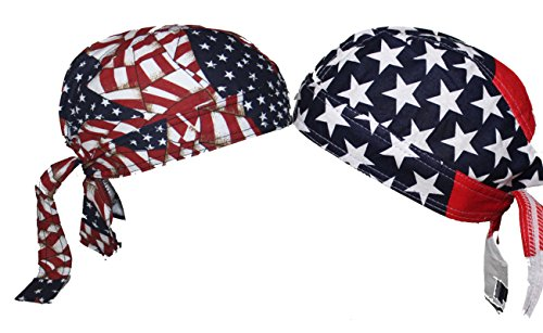 American USA Skull Cap Set Head Wrap Biker Bandana DO-RAG DOO RAG DU RAG ()
