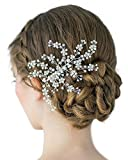 SWEETV Stunning Bridal Hair Comb Pearl Clip Rhinestone Comb - Handmade Women Hair Accessories