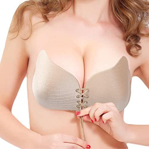 【NEWEST VERSION FBA】WELOVE Invisible Bra Self Adhesive Bra Strapless Backless Silicone Push-up Bras for Women