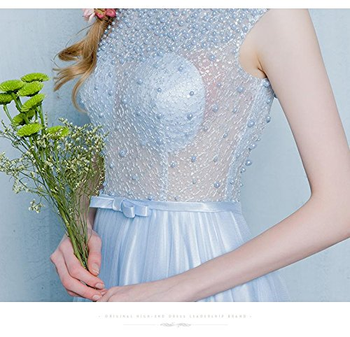 Emily Kapelle Beauty Perlen Abendkleid Durchschauen Zug Blau Spitze Baby dTwFzx