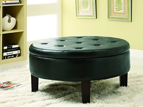 (Round Upholstered Storage Ottoman with Tufted Top Dark Brown)