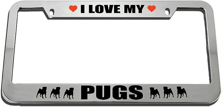 I Heart My Pug Dog Chrome License Plate Frame