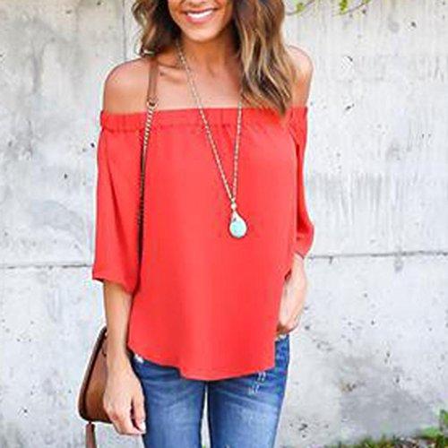 manches Mode chemise hors Transer shirt Femmes femme paule longues Blouse blouse Rouge t Casual TBw0nYqE