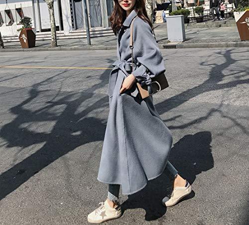 Mediano Invierno Mujer Lana Y Cálido Polvoriento Sed Femenino Otoño Suelto Abrigo Largo E Ropa Azul Grueso Lana De 1FHqW0pHw6