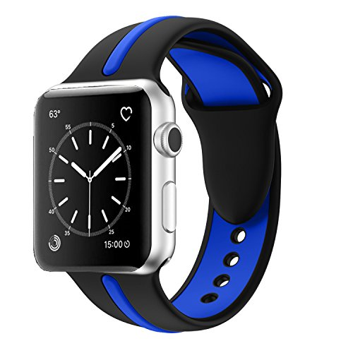 Apple Watch Band, Solomo [Sport Series] Fashion iWatch Strap Soft Durable Silicone Replacement Stripe Color Splicing Style with Women / Men Wristband for Apple Watch Nike+, Series 3 /2 /1 (38MM blue) -  YuanHeng Digital Technology Co.,Ltd, AWBSSAO38UE