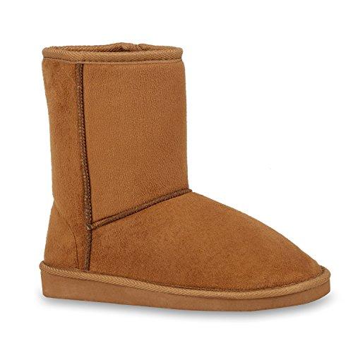 Stiefelparadies Damen Kinder Schlupfstiefel Warm Gefütterte Stiefel Schleifen Schuhe Flandell Hellbraun Camiri