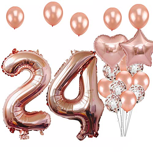 24th Birthday Decorations Party Supplies, Jumbo Rose Gold Foil Balloons for Birthday Party Supplies,Anniversary Events Decorations and Graduation Decorations Sweet 24 Party,24th Anniversary]()