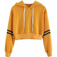 Women Varsity-Striped Drawstring Crop Hoodie Sweatshirt Jumper Crop Pullover Top