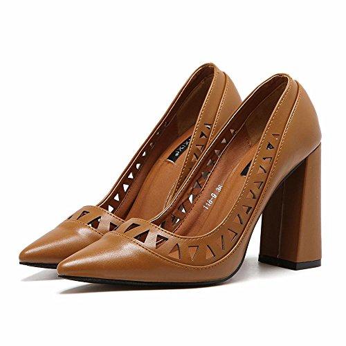 LvYuan-mxx Sandalias de las mujeres / verano y primavera / PU hueco retro / talón grueso / punta del dedo del pie boca baja / Oficina y carrera / vestido / casual / zapatos de tacón alto , black COFFEE-35