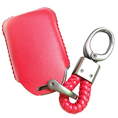 Alegender Leather Key Fob Cover Case Skin Protector Glove for GMC Acadia Terrain Yukon Chevrolet Chevy Suburban Tahoe HYQ1AA 13584502 1551A-AA Red 5Buttons Remote Control: Automotive
