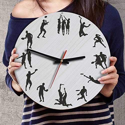 (VTH Global 12 Inch Silent Battery Operated Ultimate Frisbee Wood Wall Clocks Gifts for Ultimate Players Team)