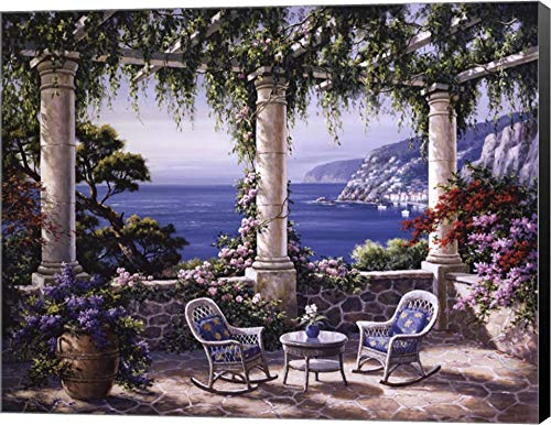 Mediterranean Terrace by Sung Kim Canvas Art Wall Picture, Museum Wrapped with Black Sides, 28 x 22 inches ()