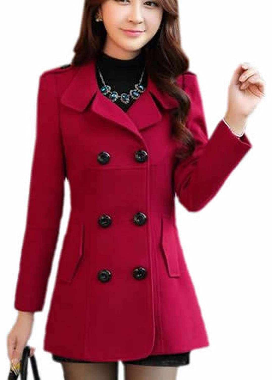 Binn Women Double-Breasted Classic Thick Wool Trench Jacket