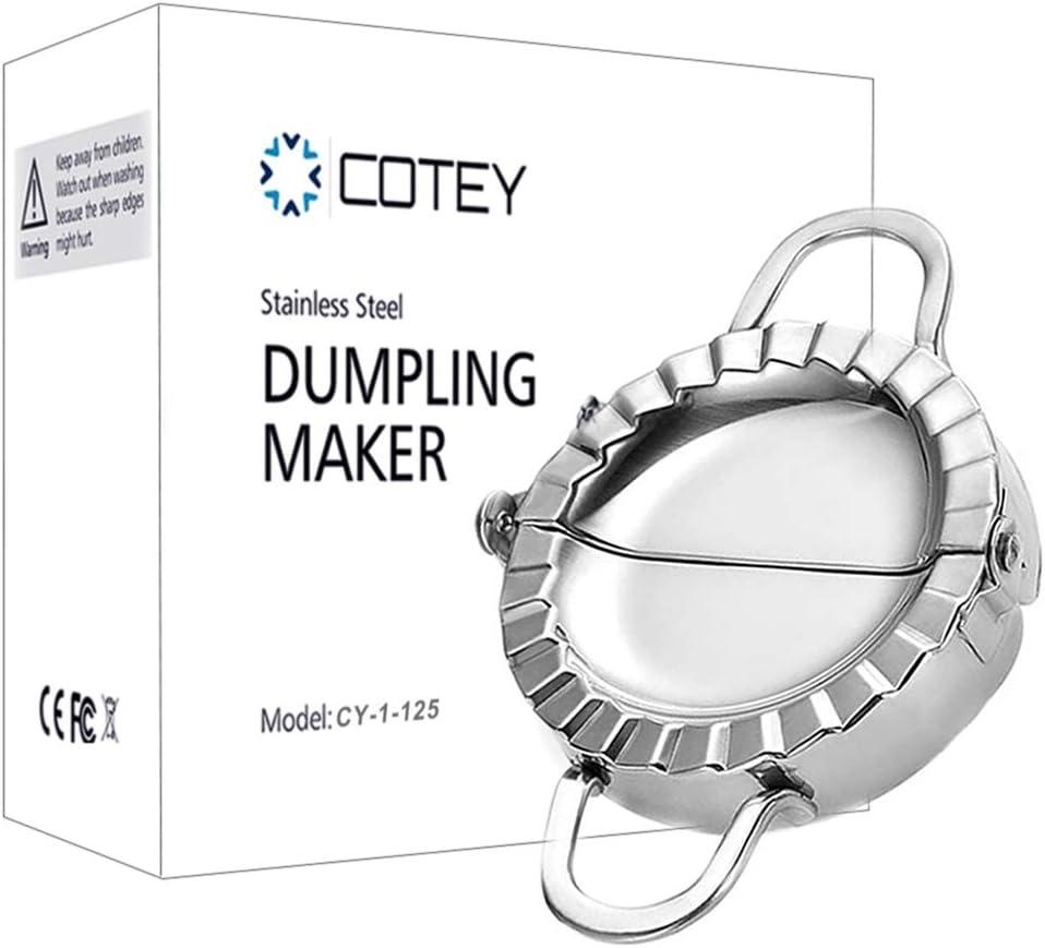 "COTEY 4.75"" Empanada Press, Large Stainless Steel Dumpling Maker, 2-in-1 Dough Cutter / Dumpling Mold for Empanada, Dumpling, Ravioli, Pierogi & Meat Pie"
