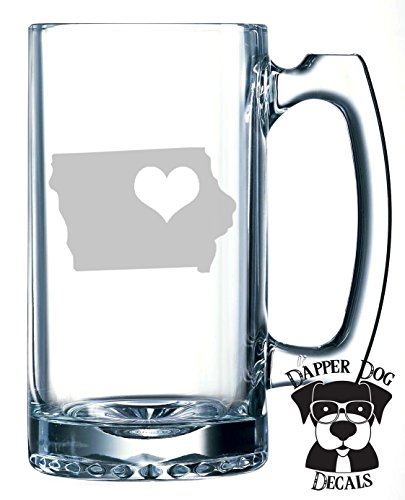 Iowa Pride I Heart My State Art Personalized Custom Hand Etched Mug 25 oz Beer Stein Glass Cup Great Gift ()