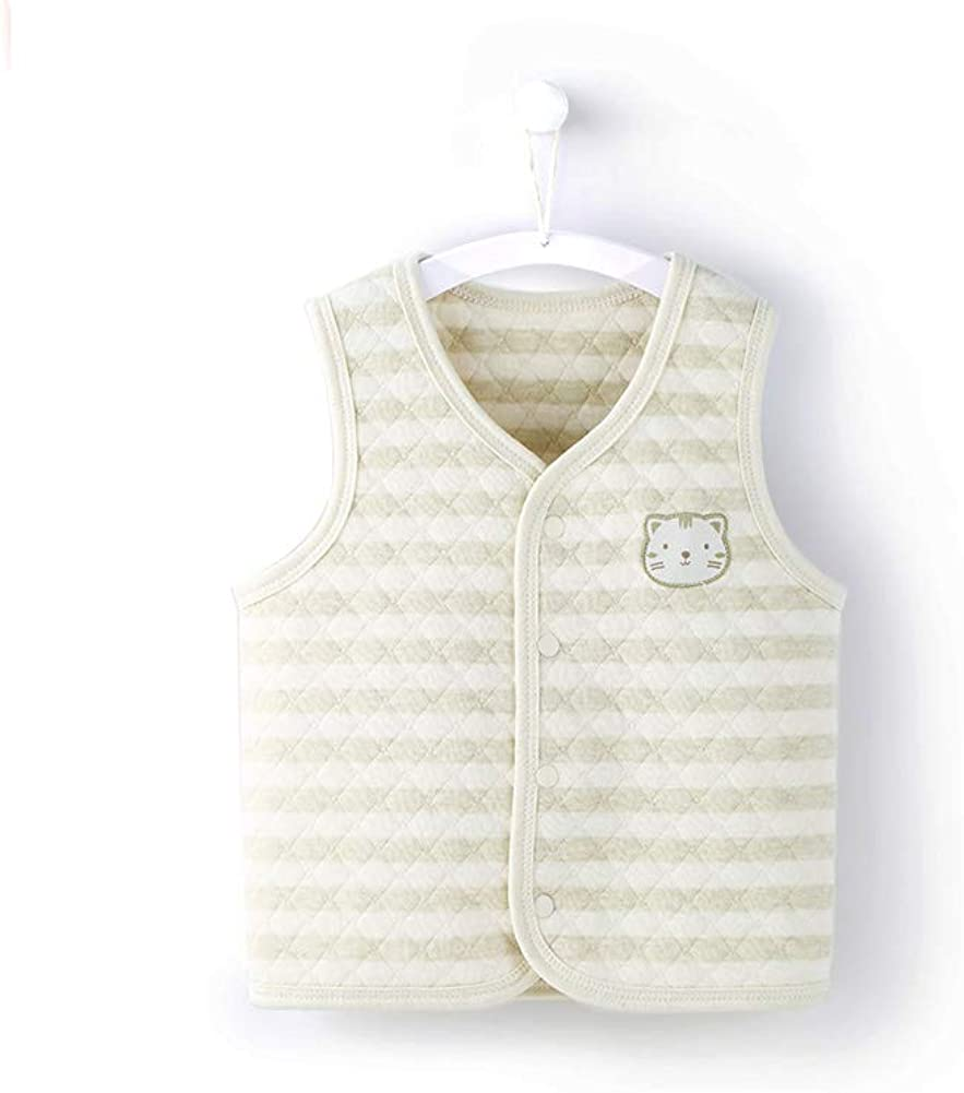 COBROO Unisex Baby Toddler Vest with Cute Cat Pattern 100/% Cotton Infant Snap-Up Front Striped Waistcoat 12-24 Months