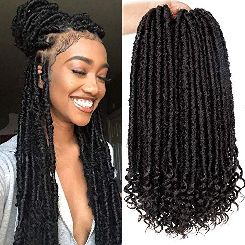 6Packs Goddess Faux Locs Crochet Hair 16 Inch Straight Goddess Locs with Curly Ends Synthetic Crochet Hair Braids for Black Women(1B#)