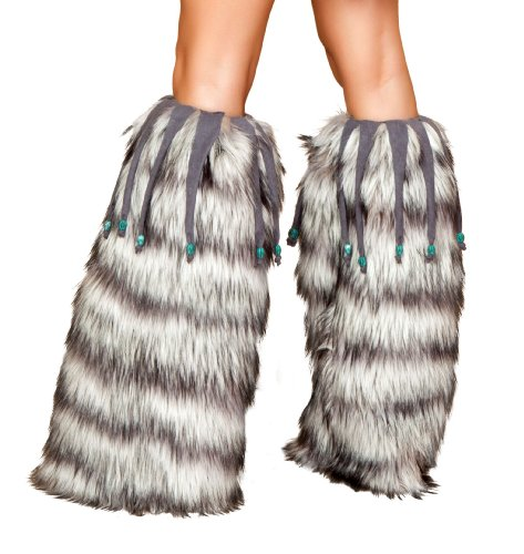 [Roma Costume Leg Warmer with Beaded Fringe, Grey Stripe, One Size] (Electrique Halloween Costumes)