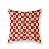 Customized Standard New Arrival Pillowcase Red And White Checked Americana Gingham Throw Pillow 20 X 20 Square Cotton Linen Pillowcase Cover Cushion
