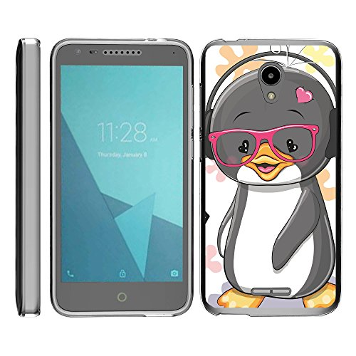 TurtleArmor | Compatible with Alcatel IdealXCITE Case | Alcatel Raven Case [Flexible Armor] Clear Flexible TPU Back Case Slim Soft Cover Bumper Sea Ocean - Cute Penguin