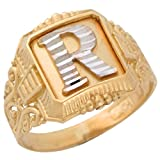14k Two-Tone Gold Antique and Filigree Design Mens Fancy Initial Letter R Ring
