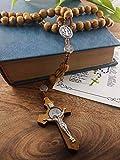 Nazareth Store Wood Beads Rosary Necklace Saint