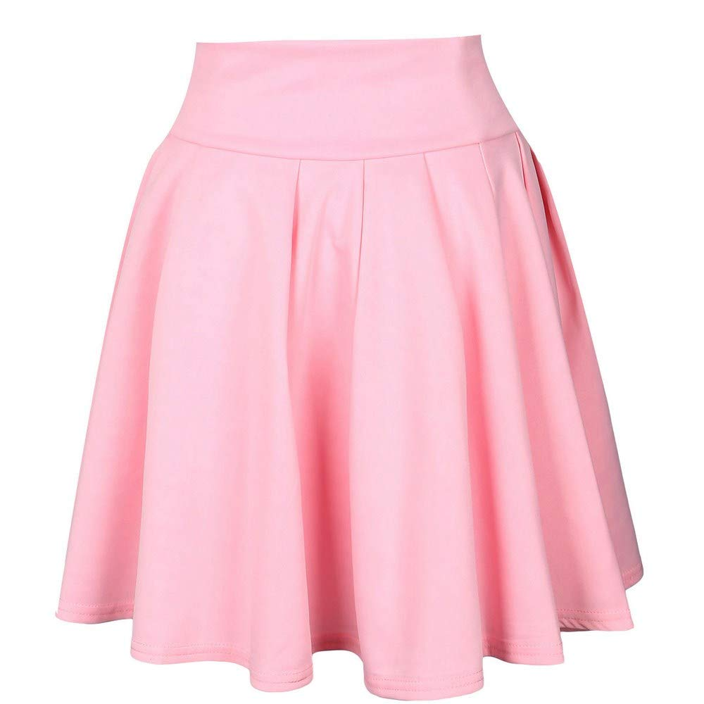 HITRAS Simple Womens Vintage A-line Printed Skirt Pleated Flared Skirts